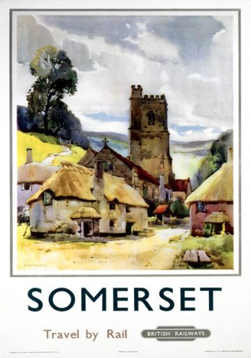Somerset. Travel by Rail.  BR (WR) Vintage Travel Poster by Jack Merriott. 1960